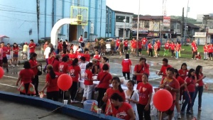Part of the Fun Run participants gather near the Our Lady of Nativity Cathedral in Borongan City.