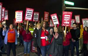 Nurses protest layoffs at St. Rose Dominican Siena campus.