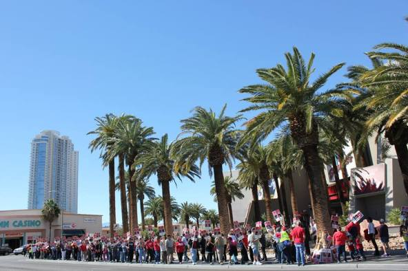 Union workers picket the Stratosphere Hotel D Casino in downtown Las Veagas