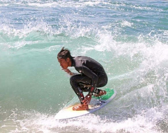 Arjun Jimenez of Cebu at the 10th Oktoberfest kimboarding championship near the Balboa Pier in Newport Beach, California. (Photo by Main Street Surf Shop)