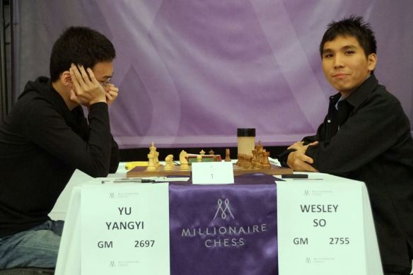 Wesley So plying balck against Yangyi Yu of China in the Millionaire chess tournament at the Planet Hollywood Hotel &  Casino in Las Vegas. (Photo by Pul Truong).