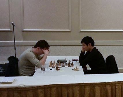 Grandmaster Wesley So (right) playing black against Sergey  Erenburg of the  US.in  So won in 49 moves . Photo by Jose Anosa.