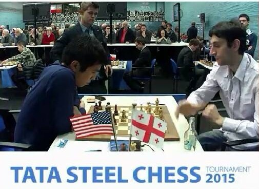 Filipino chess grandmaster Wesley So (left) plays with Baadur Jobava in the Tata Steel chess tournament in Wyjk ann Zee, the Netherlands.