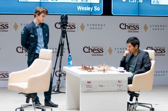 world chess champion Magnus Carlsen of Norway and Wesley So in the Gashimov Memorial chess tournament in Azerbaijan. PHOTO BY SHAMKIR CHESS 2015.