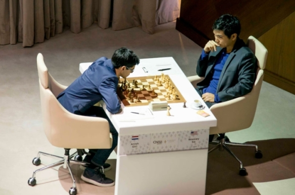 Grandmasters Wesley So (right) and Anih Giri in the Gashimov Memorial chess tournament in Azerbaijan.