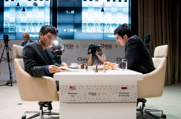 Former world chess champion Vladimir Kramnik (left) and Wesley So in the Gashimov Memorial chess tournament in Azerbaijan.