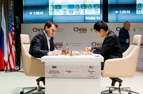 Wesley So and Shakhriyar Mamedyarov in the sixth round of the Gashimov Memorial chess tournament in Shamkir, Azerbaijan. PHOTO BY SHAMKIR CHESS 2015.