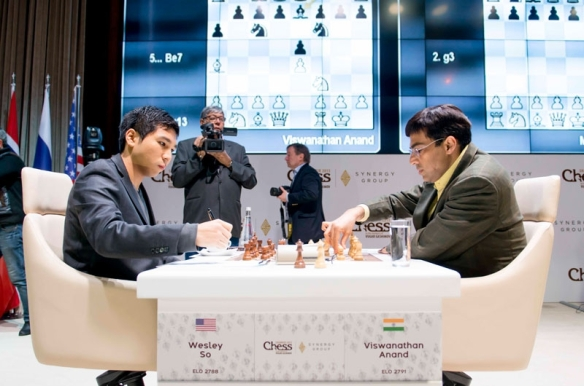Wesley So and former world champion vishy Anand in the fifth round of the Gashimov Memorial chess tournament in Azerbaijan. PHOTO BY SHAMKIR CHESS 2015.