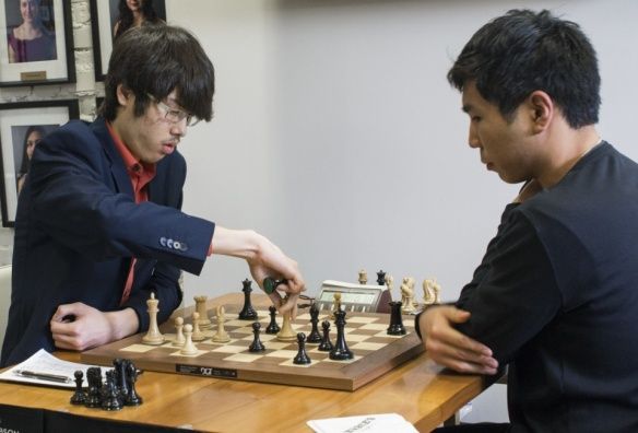 Grandmaters Ray Robson and Wesley So in the sixth round of the US Chess Championships in Saint Louis.