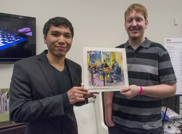 Wesley So with grandmaster Samuel Sevian in the US Chess Championships. PHOTO BY LENNART OOTES.