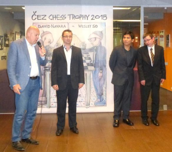 Grandmasters Wesley So and David Navarra being introduced at the opening ceremony of their CEZ Trophy series in Prague.  SO FACEBOOK PAGE