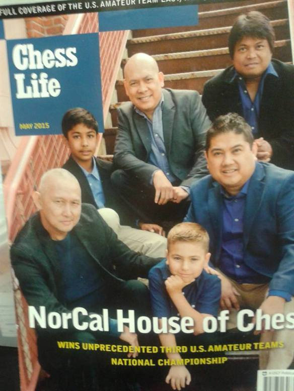 Ted Castro and his staff of NorCal House of Chess on the cover of Chess Life.